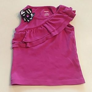 Gymboree size 3 pink ruffle tank top with zebra fl